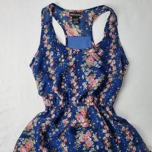 Wet Seal Blue Floral High-low Sleeveless Dress
